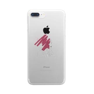 ピンクの女の子 Clear smartphone cases