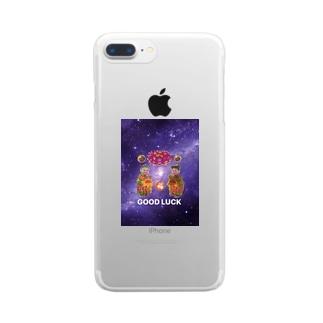 福福GOOD LUCK グッズ Clear smartphone cases