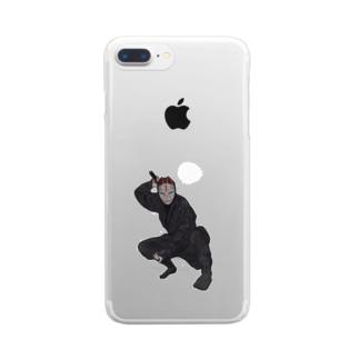 忍者・キツネ面 Clear smartphone cases