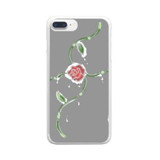 バラの涙 Clear smartphone cases