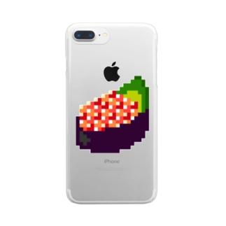 ドッド絵 いくら軍艦 Clear smartphone cases