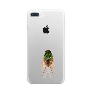蝉ブローチ Clear smartphone cases