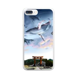 夕焼け田舎道 Clear smartphone cases