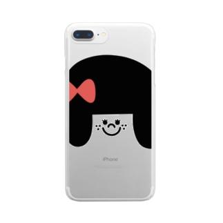 あかりのおみせのりぼんの女の子 Clear smartphone cases