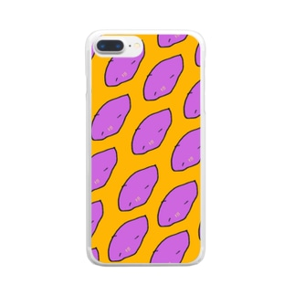 さつまいも柄 Clear smartphone cases