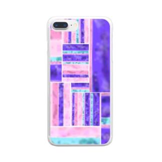 パープル/ピンク 凸凹ガラス風 Clear smartphone cases