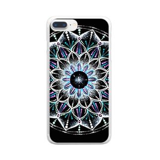 カレイドスコープ−点描曼荼羅 Clear smartphone cases