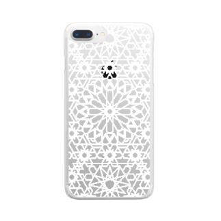 ジオメトリック白 Clear smartphone cases