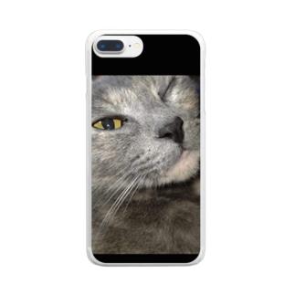 ウィンク猫 Clear smartphone cases