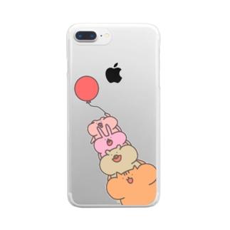 [ふうせん]ほっぺふくらみ動物たち Clear smartphone cases