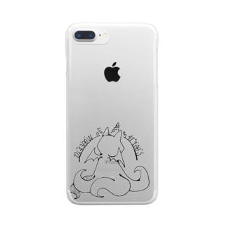 ちょぼろうSHOPの冒涜的な猫ルフ(背中色なし) Clear smartphone cases