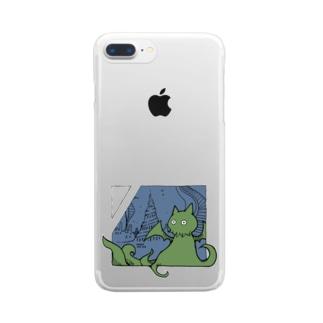 冒涜的な猫ルフ(色付き) Clear smartphone cases