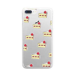 美味しい苺のショートケーキ Clear smartphone cases