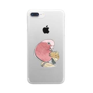 モモイロインコちゃんとトウモロコシ【まめるりはことり】 Clear smartphone cases
