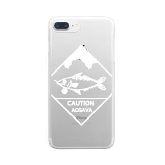 青鯖文豪(白)シリーズ Clear smartphone cases