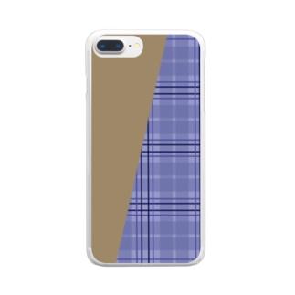 チェック×無地 切り返し(ラベンダーブルー/キャメル) Clear smartphone cases