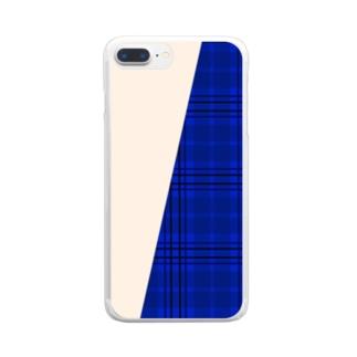 チェック×無地 切り返し(サファイアブルー/ミルクティー) Clear smartphone cases