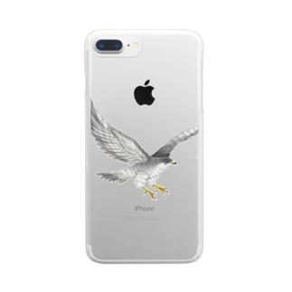隼ファルコン【まめるりはことり】 Clear smartphone cases