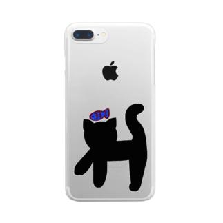クロネコ×サカナ Clear smartphone cases