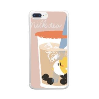 【もぐろう】タピオカ飲むもぐ Clear smartphone cases