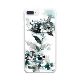 墨のあじさい Clear smartphone cases