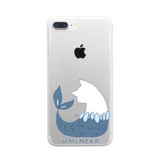 ウミネコ(線あり) Clear smartphone cases
