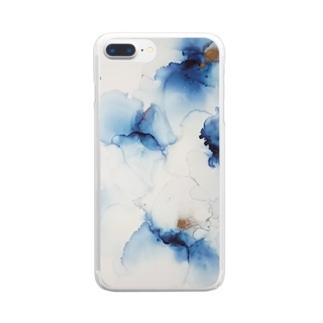 アルコールインクアート お花 Clear smartphone cases