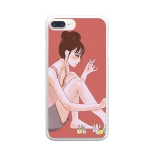 マニキュアを塗る女の子 Clear smartphone cases