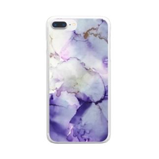 紫の花 Clear smartphone cases