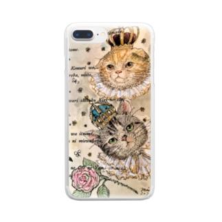 ヤマネコ。の部屋のグレ&ゴル 王族猫 Clear smartphone cases