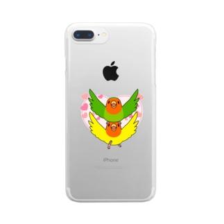 ラブリーコザクラインコ【まめるりはことり】 Clear smartphone cases