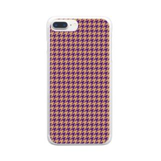 千鳥格子(テーマ:レーズンサンド) Clear smartphone cases
