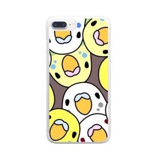 みっちりむっちり過密セキセイインコさん【まめるりはことり】 Clear smartphone cases