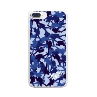 ドルフィンインダストリー&ストックヤード Official storeのスマホケース・ブルーカモフラ Clear smartphone cases