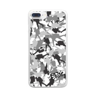 スマホケース・シルバーカモフラ Clear smartphone cases