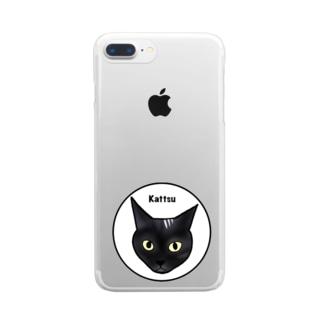 スモーキー猫 カッツ君アイコン Clear smartphone cases