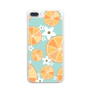 【オレンジ詰め合わせ】爽やか柄物柑橘系 Clear smartphone cases