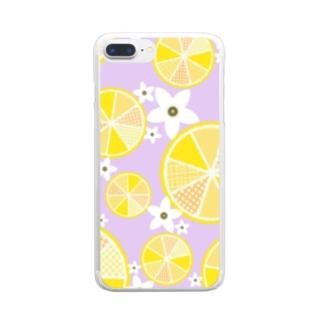 【レモン詰め合わせ】爽やか柄物柑橘系 Clear smartphone cases