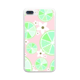 【ライム詰め合わせ】爽やか柄物柑橘系 Clear smartphone cases