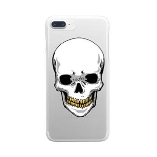 スカル【金歯】 Clear smartphone cases