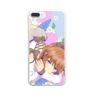 青い花と女の子 Clear smartphone cases