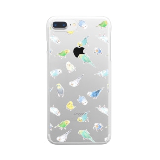 まめるりはことりのたっぷりセキセイインコちゃん【まめるりはことり】 Clear smartphone cases