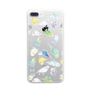 めっちゃセキセイインコちゃん【まめるりはことり】 Clear smartphone cases