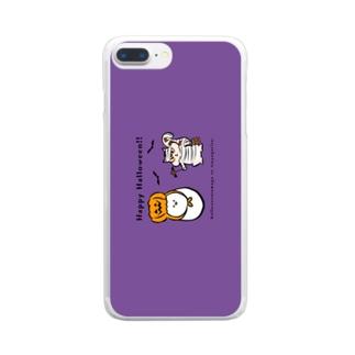 ハロウィンたまごと強がリス(紫) Clear smartphone cases