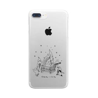 インコさんとキャンプファイヤー Clear smartphone cases