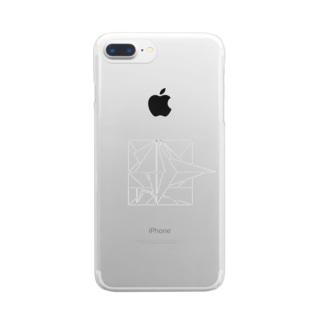 折り鶴 黒線 Clear smartphone cases
