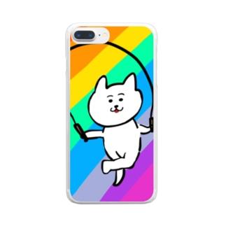縄跳びダンスねこ Clear smartphone cases
