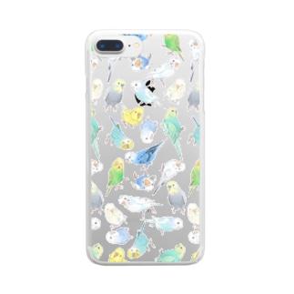 たくさんセキセイインコちゃん【まめるりはことり】 Clear smartphone cases