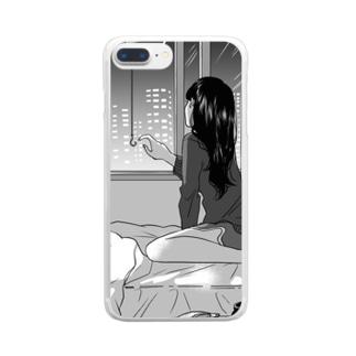「楕円の星が光る夜」 Clear smartphone cases
