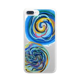相互引力イラスト Clear smartphone cases